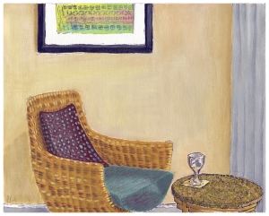 "Prince Hotel interior still life; 8""x10"" opaque watercolor on artist canvas"