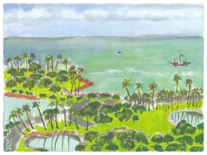"Ala Moana Beach Park from balcony of Ala Moana Hotel; 6""x8"" opaque watercolor on primed artist canvas."