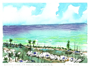 "Ala Wai Yacht Club from Ala Moana Hotel balcony; 5""x7"" Winsor & Newton transparent watercolor"